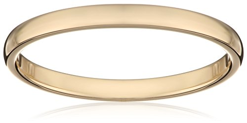 Women's 14k Yellow Gold 2mm Traditional Plain Wedding Band, Size 7.5