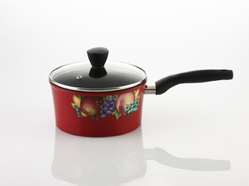 Flamekiss 2-Quart Red Ceramic Coated Nonstick Saucepan w/ Glass Lid by Amorè, Elegant Fruit & Floral Design, Nano Ceramic Coating w/ Silver Ion (100% PTFE & PFOA Free)