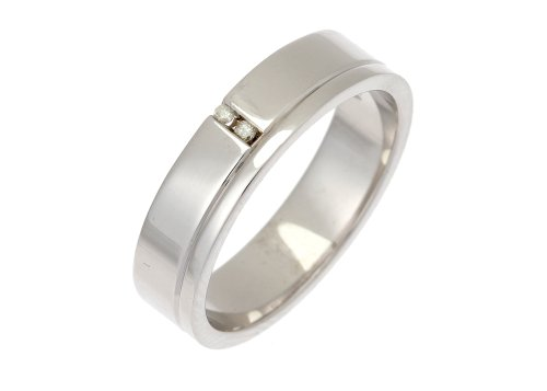Wedding Ring, 9 Carat White Gold set with Two Small Single Diamonds, 5mm Band Width