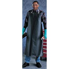 "Ansell CPP 56-502 Hycar Mediumweight Apron, 35"" x 45"", Black, Case of 12"
