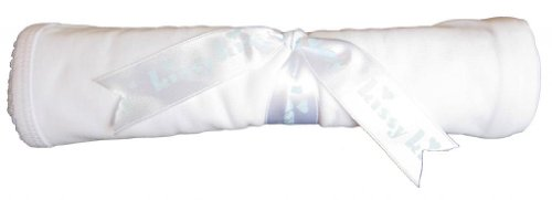 Kissy Kissy Baby Signature Blanket-White with Blue-One Size