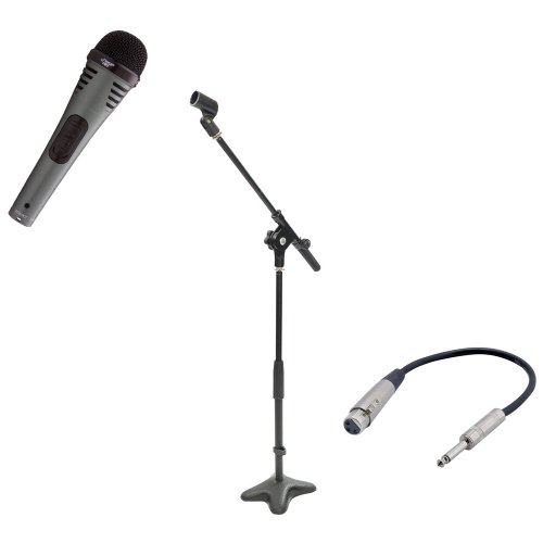 Pyle Mic And Stand Package - Pdmik2 Professional Moving Coil Dynamic Handheld Microphone - Pmks7 Compact Base Microphone Stand - Ppfmxlr01 12 Gauge 6 Inch 1/4'' To Xlr Female Cable