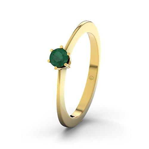 Wellington 21DIAMONDS Women's Ring Emerald Cut Engagement Ring-14ct Yellow Gold Engagement Ring