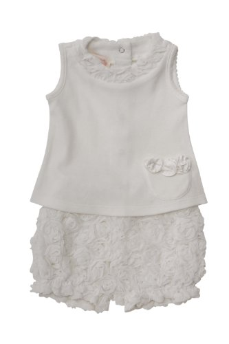 Biscotti Baby-Girls Newborn Rose Perfection Top And Bloomer, Ivory, 6 Months