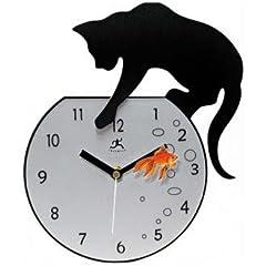 【並行輸入品】壁掛け時計 インフィニティーインスツルメンツ 金魚とネコ
