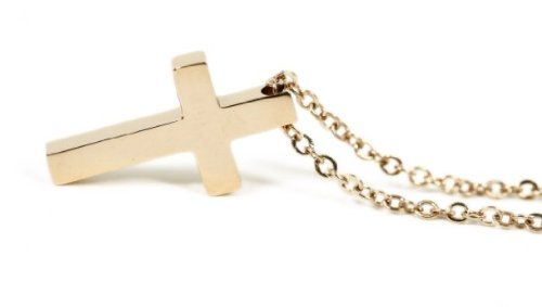 18k Rose Gold Plated Cross Pendant Necklace with Delicate Chain Elegant Trendy Fashion Jewelry 16″ Long Chain -----montreyah tyree
