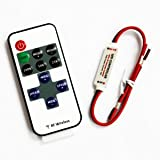 SUPERNIGHT (TM) RF Wireless Remote Control Mini Dimmer For Single Color LED Light Strip 5V-24V