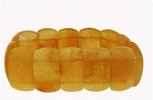 Medium Cushion Style Stretch Bracelet - Yellow Jade