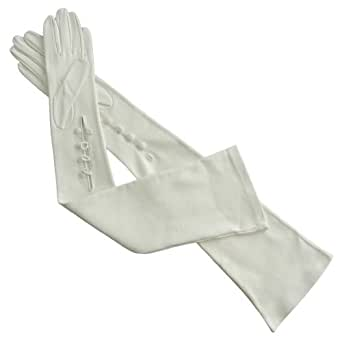"""Opera Length 16"""" Italian Leather Gloves with 4 Buttons At the Wrist. By Solo Classe (8.5, White)"""