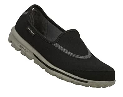 "Women's Skechers ""Go Walk"" Flats - Black/Gray (6.5, Black/Gray)"