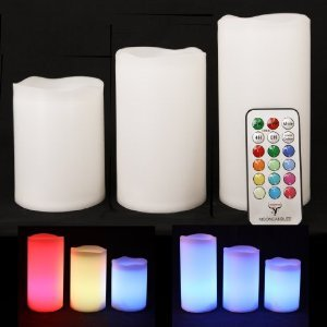 3 Weatherproof Outdoor and Indoor Color Changing Rainbow LED Candles with Remote Control & Timer