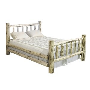Log Furniture - King Bed - Varnished