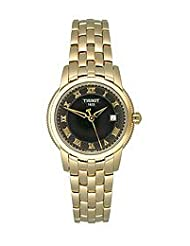 Women's T-Classic Quartz Gold Tone Stainless Steel Black Dial Link Bracelet
