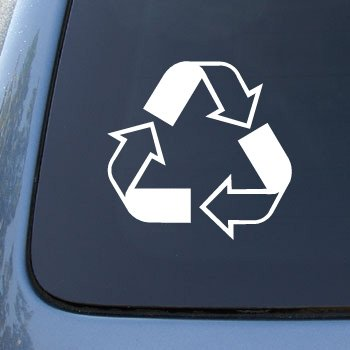 RECYCLE SYMBOL - Car, Truck, Notebook, Vinyl Decal Sticker #2145 | Vinyl Color: White