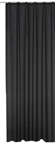 Übergardine Dekoschal #256 Vorhang blickdicht / lichtdurchlässig Kräuselband Gardine moderne Unifarbe (schwarz, Kräuselband / Universalband)