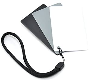 Kaavie 3 in 1 Pocket-Sized Reference Color & White Balance Grey Card Set With Quick-Release Neck Strap for Digital Photography