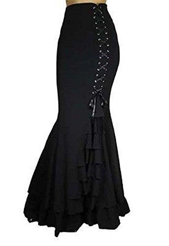Mermaid-Fishtail-Long-Ruffled-Black-Corset-Skirt-Steampunk-Renaissance