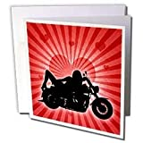 Doreen Erhardt Love and Romance - Motorcycle Love with the Silhouette of Woman on the Bike and a Heart Background - Greeting Cards-6 Greeting Cards with envelopes