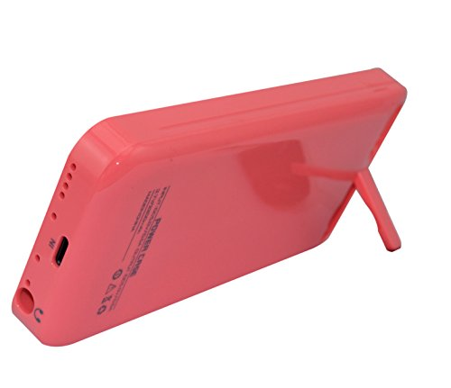 Usee 2200Mah Extended Battery Case Back Up Power Bank For Iphone 5 / 5S / 5C Back Up + Charging Port + Kick Stand + Slim Fit Slider Design + Full Body Protection + On/Off Switch Led Battery Level Indicator (Deep Pink)