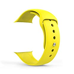 Apple Watch Band, MoKo Soft Silicone Fitness Replacement Sport Band for 38mm Apple Watch All Models, YELLOW (3 Pieces of Bands Included for 2 Lengths, Not Fit Apple Watch 42mm version 2015)