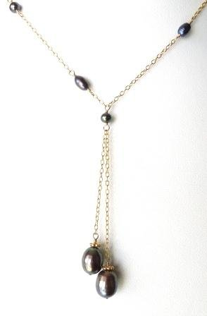 Dark Gray Color Freshwater Rice Pearl 14k Gold Filled Pendant Necklace. 16