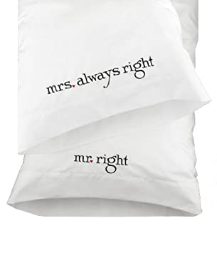 Hortense B. Hewitt Wedding Accessories Mr. and Mrs. Right Pillowcases, Set of 2
