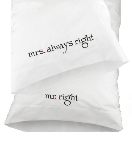31NdrcJFyzL Hortense B. Hewitt Wedding Accessories Mr. and Mrs. Proper Pillowcases, Set of two