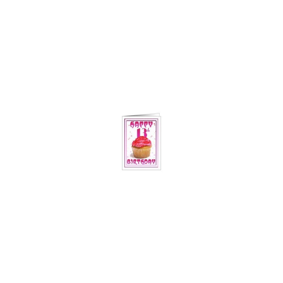 13th Birthday Cake Stars Pink Cup Card