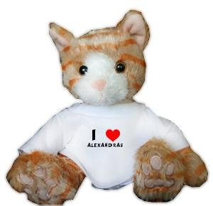 Plush Stuffed Brown Cat Toy with I Love Alexandras T-Shirt (first name/surname/nickname)