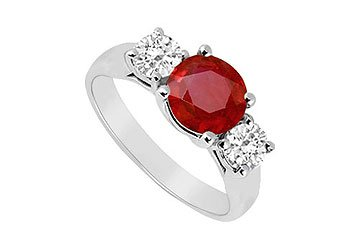 Sterling Silver Ruby and Cubic Zirconia Three Stone Ring 1.25 CT TGW MADE IN USA