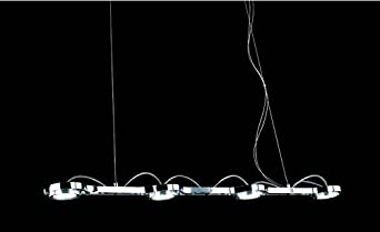 Binario LED a sospensione con 4 faretti spot Luyu - 10332 - 4000 K - 12 x 1 W...