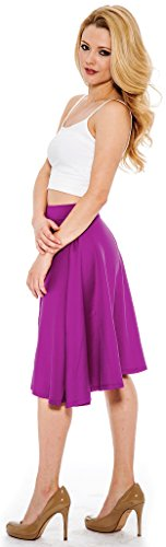 Enimay Women's Solid Colored Sexy High Waste Pleated Summer Skirt Below Knee Magenta Medium
