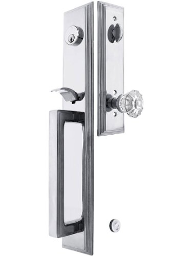 """Melrose Style Tubular Handleset In Polished Chrome With Astoria Knobs And 2 3/8"""" Backset. Antique Handles. front-943840"""