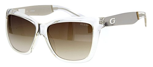 Guess 7371 Womens/Ladies Cat Eye Full-rim 100% UVA & UVB Lenses Sunglasses/Sun Glasses (57-15-135, Crystal / Silver) (Guess Kids Shoes compare prices)