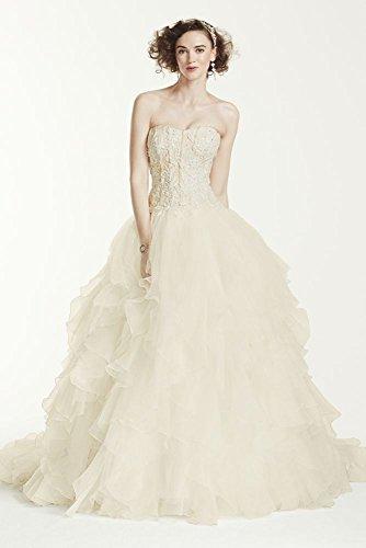 Organza Oleg Cassini Strapless Ruffled Skirt Wedding Dress Style CWG568,...