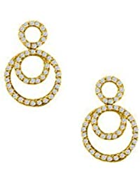 April Birthstone Cubic Zirconia Double Circle Earrings In 18K Yellow Gold Vermeil 0.75 CT TGW
