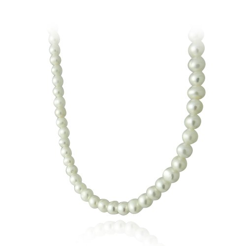 Sterling Silver 5.5-6mm Genuine Freshwater Cultured White Pearl Necklace, 18-inch