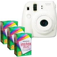FujiFilm Instax Mini 8 Camera, 62x46mm Picture Size, White - Bundle - with Three TwinPacks of Fujifilm Instax Mini Instant Daylight Film, 20 Exposures (Total 60 Sheets)
