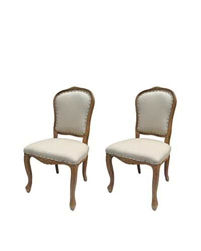 White x White Set of 2 Bellamy Dining Chairs, Natural/Brown