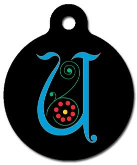 Monogram Letter U Pet ID Tag for Dogs and Cats