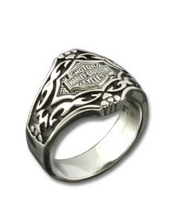 Harley-Davidson® Stamper® Men's Stainless Steel Gothic Pattern Ring. STR6786