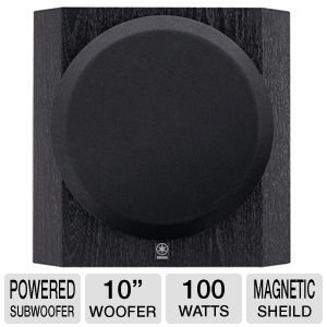 """Yamaha 10"""" 100W Front-Firing Sub-Woofer With Advanced Yst Ii (Yamaha Active Servo Technology Ii), Linear Port For Minimizing Extraneous Noise, 10"""" Driver With Long-Stroke Cone, Black Finish"""