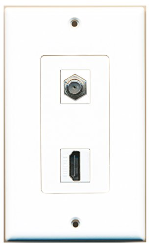 Riteav - 1 X Cable Tv Coax And 1 X Hdmi Port Wall Plate White Decorative Type