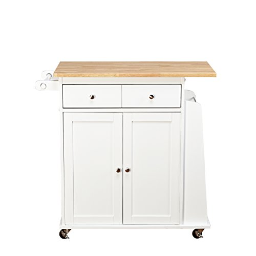 Target Marketing Systems Sonoma Collection Two-Toned Rolling Kitchen Cart with Drawer, Cabinet, and Spice Rack, White/Natural (White Kitchen Cabinets Drawers compare prices)