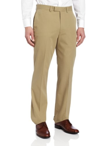 Louis Raphael Men's Modern Fit Flat Front Twill Dress Pant,