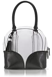Pineider 1774 Limited Edition Mini Bowling Leather Bag black-white