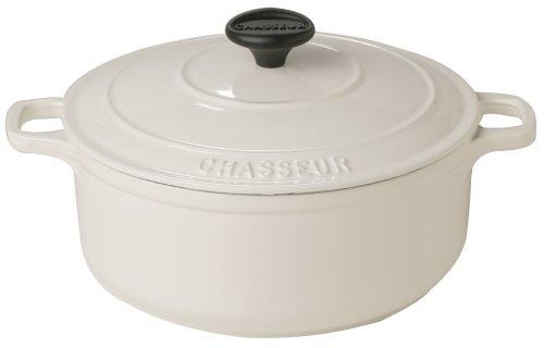 Chasseur Cast Iron Round Casserole, Arctic White, 22 cm, 3.0 Litre