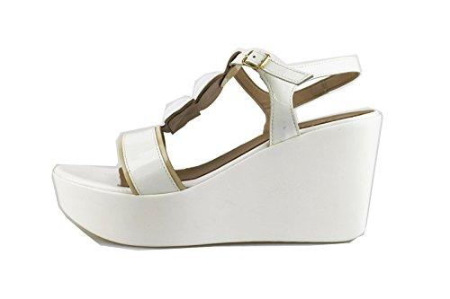 JEANNOT sandali donna 41 EU bianco vernice AG432