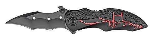 Rogue River Tactical Red Black 8 Inch Assisted Open Folding Pocket Knife Hunting Camping Tactical Batman Design Handle Dark Knight