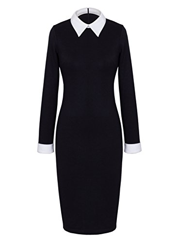 Great Group Halloween Costumes: The Addams Family - Anni Coco Women's Peter Pan Collar Wednesday Addams Black Pencil Business Dress
